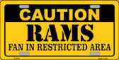 Caution Rams Wholesale Metal Novelty License Plate LP-2544