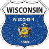 Wisconsin State Flag Highway Shield Novelty Metal Magnet