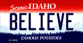 Believe Idaho State Background Wholesale Metal Novelty Key Chain