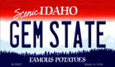 Gem State Idaho State Background Wholesale Metal Novelty Magnet