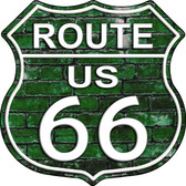 Route 66 Green Brick Wall Wholesale Metal Novelty Highway Shield