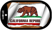 "California State Flag Scroll Dog Tag Kit 2"" Wholesale Metal Novelty Necklace"
