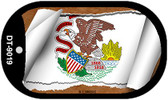 "Illinois State Flag Scroll Dog Tag Kit 2"" Wholesale Metal Novelty Necklace"