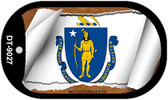 "Massachusetts State Flag Scroll Dog Tag Kit 2"" Wholesale Metal Novelty Necklace"