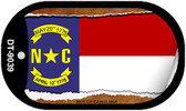 "North Carolina State Flag Scroll Dog Tag Kit 2"" Wholesale Metal Novelty Necklace"