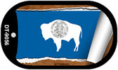 "Wyoming State Flag Scroll Dog Tag Kit 2"" Wholesale Metal Novelty Necklace"