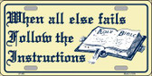 Follow Instructions Wholesale Metal Novelty License Plate