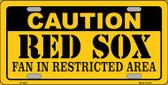 Caution Red Sox Wholesale Metal Novelty License Plate LP-2627