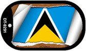 "St. Lucia Flag Country Flag Scroll Dog Tag Kit 2"" Wholesale Metal Novelty Necklace"