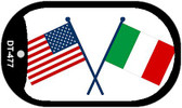 "United States Italy Crossed Flag Country Flag Dog Tag Kit 2"" Wholesale Metal Novelty Necklace"