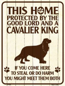 This Home Protected By A Cavalier King Parking Sign Metal Novelty Wholesale