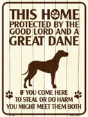 This Home Protected By A Great Dane Parking Sign Metal Novelty Wholesale