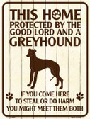 This Home Protected By A Greyhound Parking Sign Metal Novelty