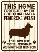 This Home Protected By A Pembroke Welsh Parking Sign Metal Novelty Wholesale