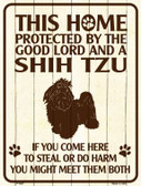 This Home Protected By A Shih Tzu Parking Sign Metal Novelty Wholesale