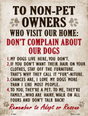 Non-Pet Owners Our Dogs Parking Sign Wholesale Metal Novelty P-1689