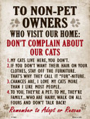 Non-Pet Owners Our Cats Parking Sign Wholesale Metal Novelty