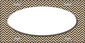 Brown White Chevron Print With White Center Oval Wholesale Metal Novelty License Plate LP-2707