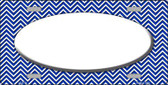 Blue White Chevron Print With White Center Oval Wholesale Metal Novelty License Plate LP-2708