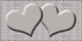 Grey White Chevron Print With Grey Center Hearts Wholesale Metal Novelty License Plate LP-2718