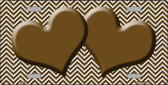 Brown White Chevron Brown Center Hearts Wholesale Metal Novelty License Plate LP-2725