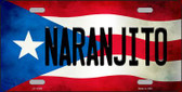 Naranjito Puerto Rico Flag Background License Plate Metal Novelty Wholesale