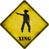 Cowboy With Pistol Xing Novelty Metal Crossing Sign Wholesale