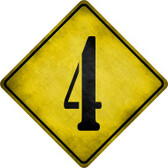 Number 4 Xing Novelty Metal Crossing Sign Wholesale