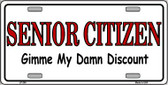 Senior Citizen Discount Wholesale Metal Novelty License Plate LP-280