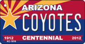 Coyotes Arizona Centennial State License Plate Wholesale Key Chain