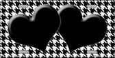 White Black Houndstooth With Black Center Hearts Wholesale Metal Novelty License Plate