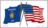 Wisconsin Crossed US Flag Wholesale Magnet M-11509