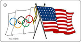 Olympic Crossed US Flag Wholesale Key Chain