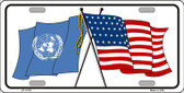 United Nation Crossed US Flag Wholesale License Plate LP-11518