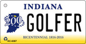Golfer Indiana State License Plate Novelty Wholesale Key Chain KC-6387
