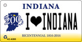 I Love Indiana State License Plate Novelty Wholesale Key Chain KC-6395