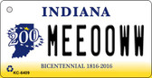Meeooww Indiana State License Plate Novelty Wholesale Key Chain KC-6409