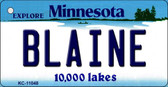 Blaine Minnesota State License Plate Novelty Wholesale Key Chain KC-11048