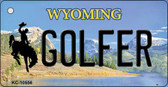 Golfer Wyoming State License Plate Wholesale Key Chain