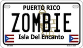 Zombie Puerto Rico State Wholesale Motorcycle License Plate MP-6869