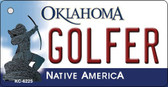 Golfer Oklahoma State License Plate Novelty Wholesale Key Chain KC-6225