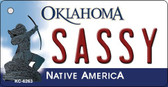 Sassy Oklahoma State License Plate Novelty Wholesale Key Chain KC-6263