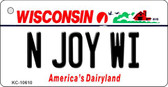N Joy WI Wisconsin License Plate Novelty Wholesale Key Chain KC-10610