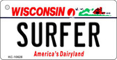 Surfer Wisconsin License Plate Novelty Wholesale Key Chain KC-10628