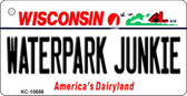 Waterpark Junkie Wisconsin License Plate Novelty Wholesale Key Chain KC-10656
