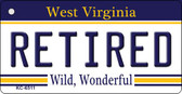 Retired West Virginia License Plate Wholesale Key Chain