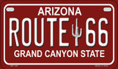 RT 66 Grand Canyon Red and White Wholesale Motorcycle License Plate MP-105