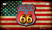 Route 66 American Flag Neon Novelty Wholesale Motorcycle License Plate MP-8521
