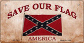 Save Our Flag Confederate Novelty Wholesale Bicycle Plate BP-7952