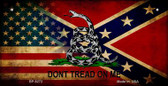 USA Confederate Don't Tread Novelty Wholesale Bicycle Plate BP-8272